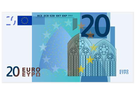 dinero euros: Veinte billetes en euros en un fondo blanco Vectores
