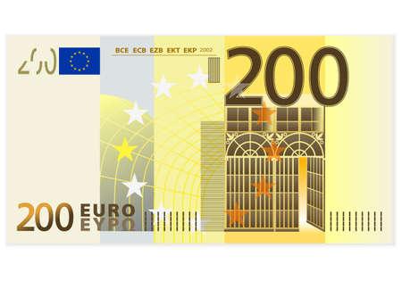 european euro: Two hundred euro banknote on a white background  Illustration