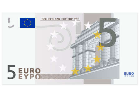 dinero euros: Cinco de billetes en euros en un fondo blanco