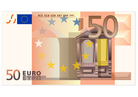 billets euro: Cinquante billets en euros sur fond blanc Illustration