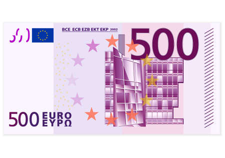 banconote euro: Cinquecento banconota in euro su uno sfondo bianco