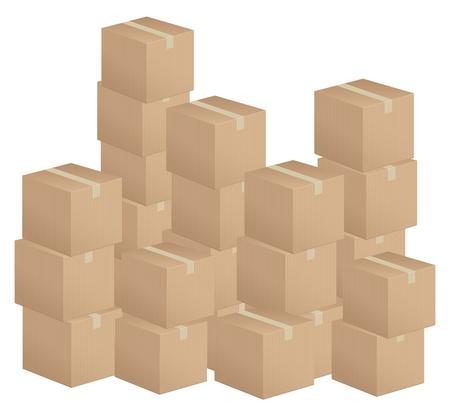 pasteboard: Cardboard boxes stack on white background  Illustration