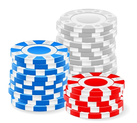 Casino chips stack on a white background. Stock Vector - 17300659