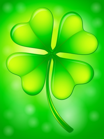 Green four leafs clover on a abstract background. Stock Vector - 17300658