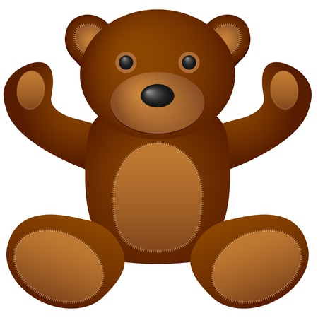 teddy bear cartoon: Teddy bear toy on a white background.