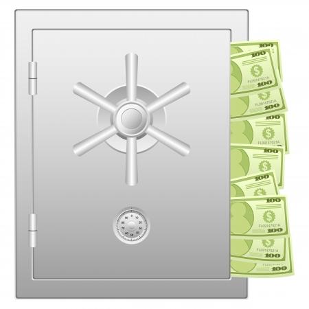 Bank safe with dollar banknotes. Vector illustration. Illustration