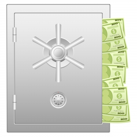 Bank safe with dollar banknotes. Vector illustration. Stock Vector - 17444074