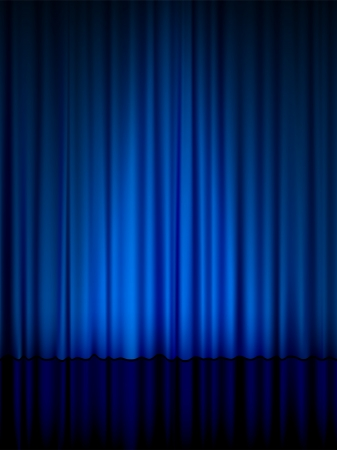 curtain: Close view of a blue curtain. Vector illustration.