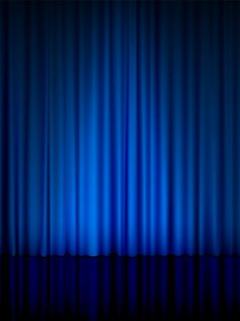 curtain theater: Vista cercana de una cortina azul. Vector ilustraci�n.