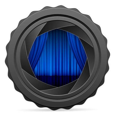 Camera shutter with curtain on white background. Vector illustration. Vector