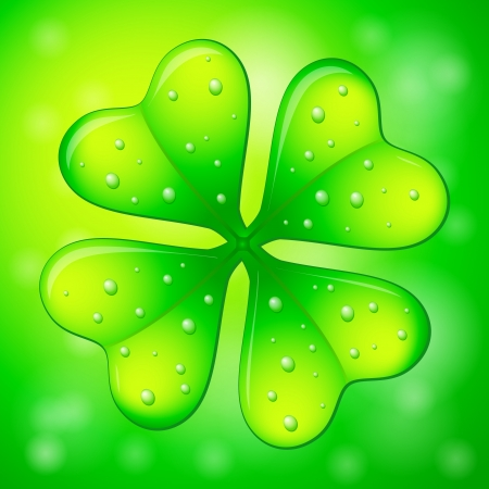 four leafs clover: Verde tr�bol de cuatro hojas sobre un fondo abstracto
