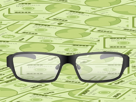 Glasses on a dollars background  Vector illustration Stock Vector - 17444083