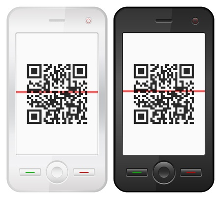 barcode scanner: Mobile phone with QR barcode scanner on a white background
