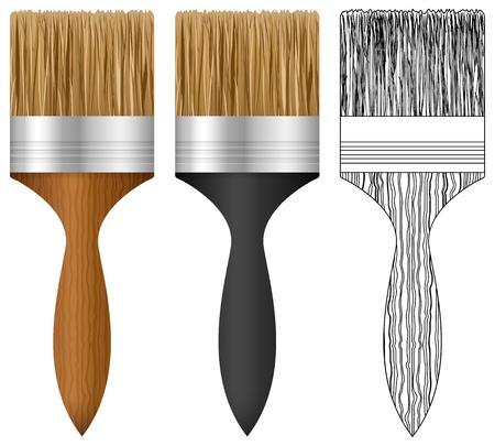 maleza: Cepillo de pintura situado en el fondo blanco