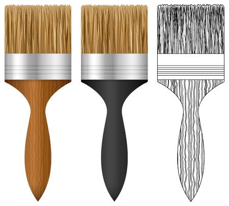 paint brush: Paint brush set on white background  Illustration