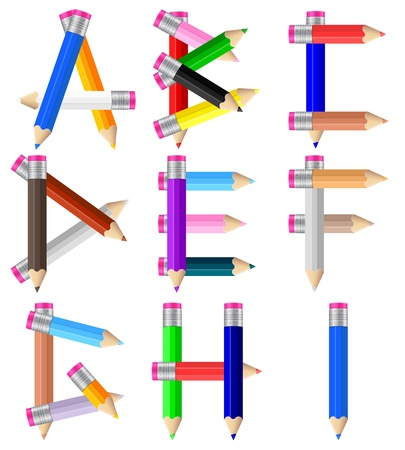 Alphabet formed by pencils from A to I on a white background  Vector illustration  Vector