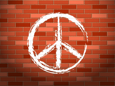 ideology: Peace symbol on a brick wall. Vector illustration. Illustration