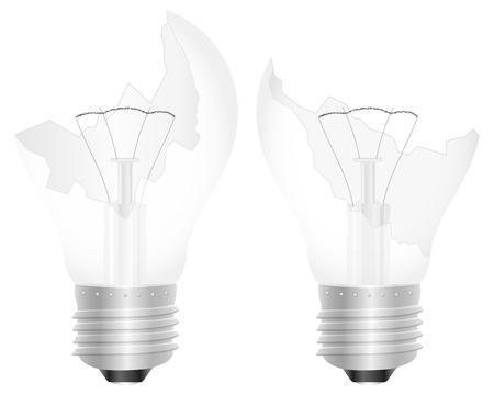 Broken light bulb on a white background. Vector illustration.