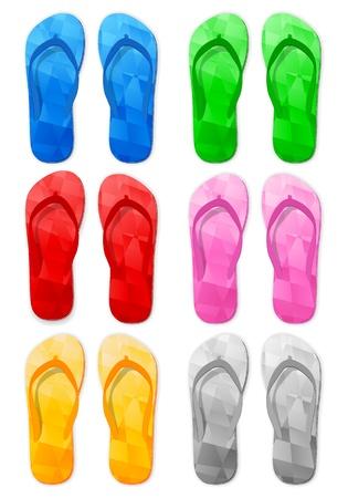 Flip flop set on a white background. Vector illustration. Stock Vector - 17588607