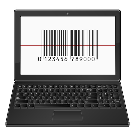 Laptop with barcode scanner on a white background. Stock Vector - 17588555