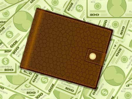 Wallet on a dollars background. Vector illustration. Stock Vector - 17594255