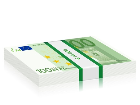 wad: Hundreds euro banknotes stack on a white background   illustration