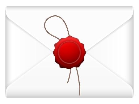 tampon cire: Mail enveloppe avec le cachet de cire sur un fond blanc.