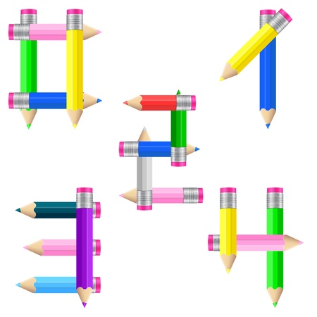 Number formed by pencils from 0 to 4 on a white background.  illustration. Vector