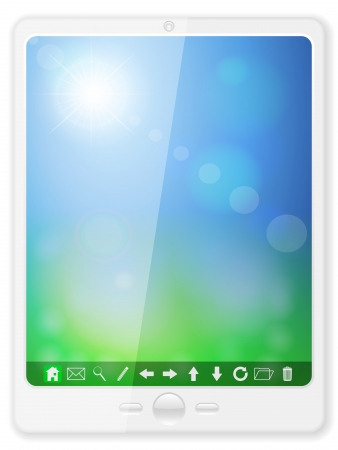 Tablet computer on a white background.  illustration.