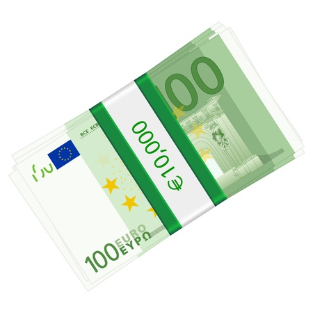 wad: One hundreds euro banknotes pack on a white background