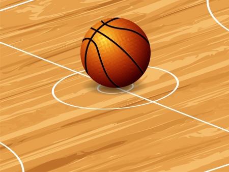 cancha de basquetbol: Bola del baloncesto en el fondo de tenis