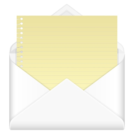 Envelope mail with notepad sheet on a white background  Stock Vector - 17964844