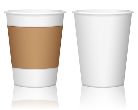 cup of coffee: Paper coffee cup set on a white background