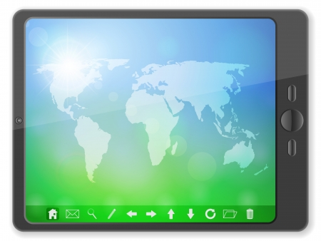 Tablet computer with world map on a white background  Vector illustration  Illustration