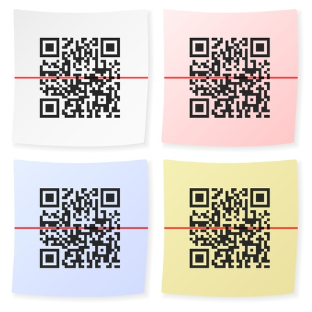 qr: QR bar code sticker on a white background  Illustration