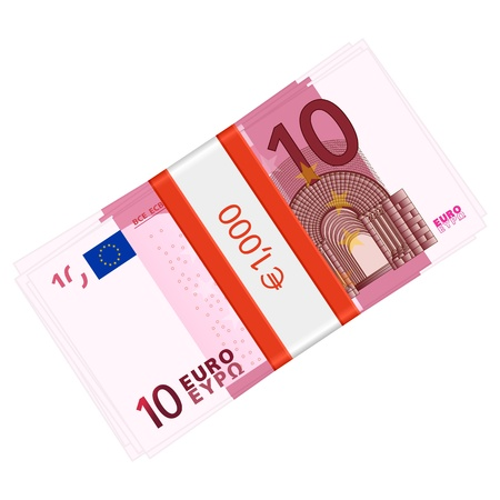 wad: Ten euro banknotes pack on a white background   illustration
