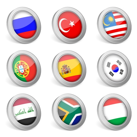 3D national flag icons on white background   illustration  Vector