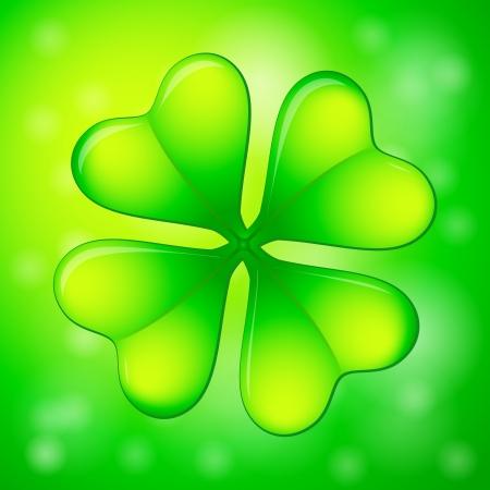 four leafs clover: Verde tr�bol de cuatro hojas sobre un fondo abstracto.