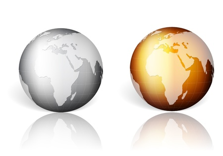 Gold and silver world globe on a white background. Vector