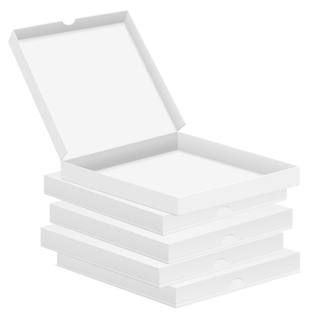 Paper pizza boxes on white background.  illustration. Vector