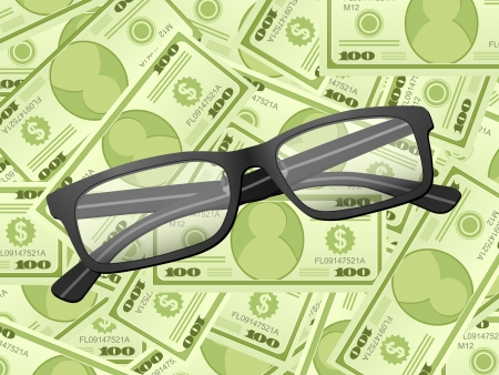 Reading glasses on a dollars background.  illustration. Stock Vector - 18034389