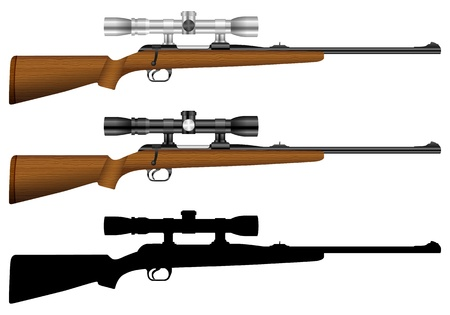 gun sight: Rifle set on a white background.  illustration.