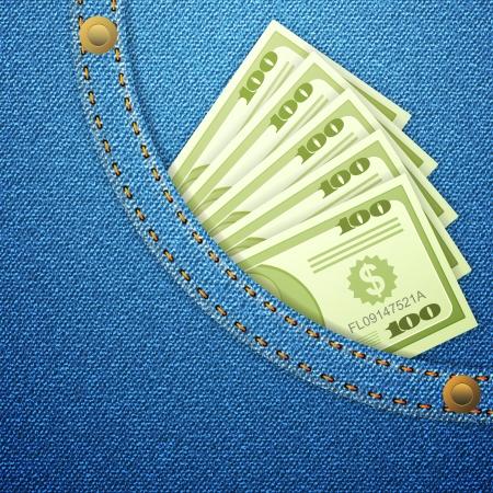 Bleu denim avec poche billets de dollars. Vector illustration.