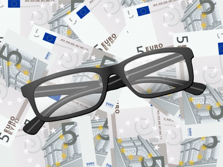 Reading glasses on five euros background. Vector illustration. Stock Vector - 18224230