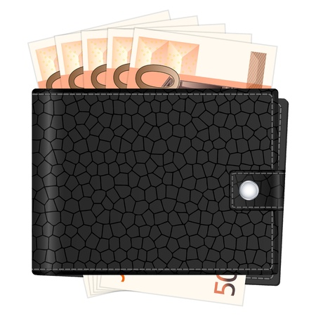 billfold: Wallet with fifty euro banknotes on a white background. Vector illustration. Illustration