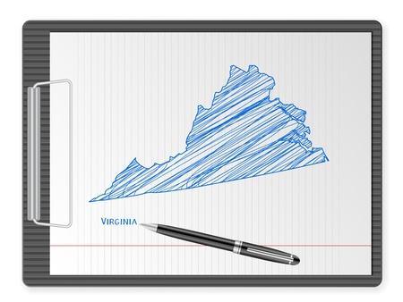 virginia: Clipboard with drawing Virginia map