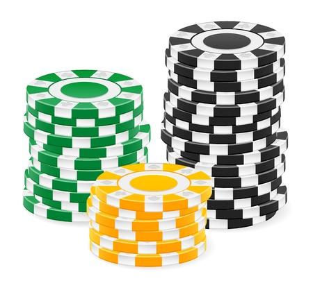 fichas casino: Fichas de casino apilar sobre un fondo blanco.
