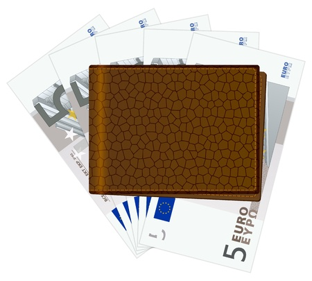billfold: Wallet with five euro banknotes on a white background. Vector illustration. Illustration
