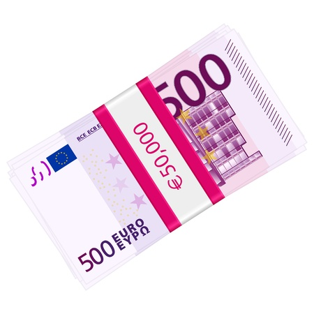 wad: Hundreds euro banknotes pack on a white background. Vector illustration. Illustration