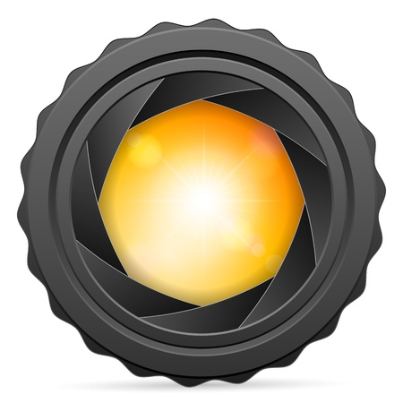 sunspot: Camera shutter with sunspot on white background. Vector illustration.